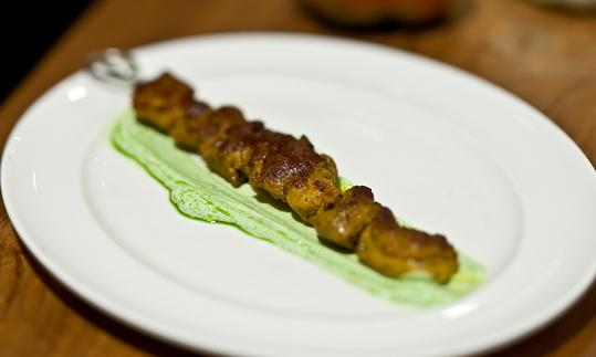 Moroccan lamb skewer with mint yoghurt